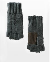Mango - Suede Cable-Knit Fingerless Mittens - Lyst