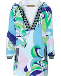 Emilio Pucci Hooded Printed Cotton-blend Terry Tunic - Lyst