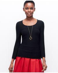 Ann Taylor Petite Stripe Stitched Sweater - Lyst