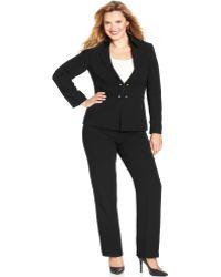 Tahari Asl Plus Size Black Military Pantsuit - Lyst