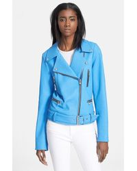 Elizabeth And James 'Corlyn' Leather Moto Jacket blue - Lyst