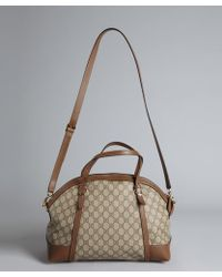 Gucci Dark Brown Leather and Double G Canvas Convertible Shoulder Bag - Lyst