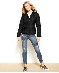 Krush - Faux-Fur Hooded Puffer Jacket - Lyst