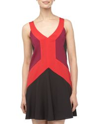 Jay Godfrey Colorblock Aline Flounce Dress Redoxblack 0 - Lyst