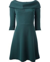 Carven Green Draped Cowl Neck 3/4 Sleeve Dress - Lyst