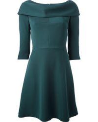 Carven Green Draped Cowl Neck 3/4 Sleeve Dress - Lyst