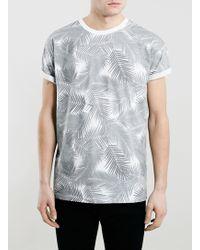 Topman Mono Palms Print Roller Fit T-Shirt - Lyst