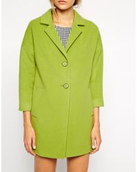 Helene Berman Two Button Car Coat - Lyst