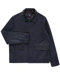 Paul Smith | Men's Dark Indigo Leather Coach Jacket | Lyst