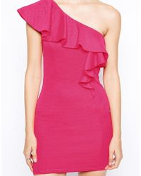 Lipsy One Shoulder Frill Dress - Lyst