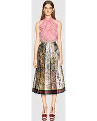 Gucci | Sea Map Print Silk Skirt | Lyst