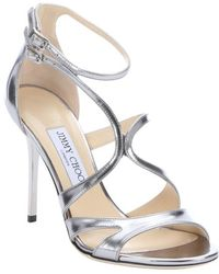 Jimmy Choo Silver Mirrored Leather 'Furrow' Strappy Stiletto Sandals - Lyst