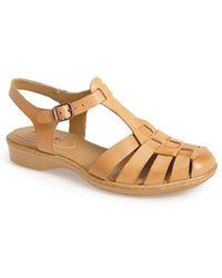 Softspots | 'holly' Leather T-strap Huarache Sandal | Lyst