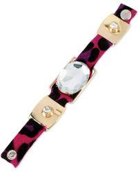 Betsey Johnson Goldtone Crystal Leopard Snap Bracelet - Lyst