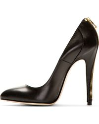 Brian Atwood Black Zip_trimmed Elida Pumps - Lyst