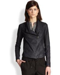 Vince Paper Leather Jacket blue - Lyst