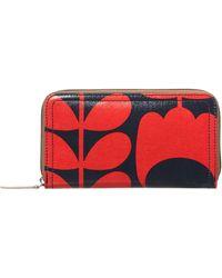 Orla Kiely - Shiny Stem Red Zip Around Purse - Lyst