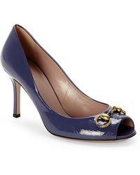 Gucci Blue Ssima Peep Toe Pumps - Lyst