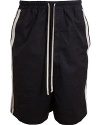 Rick Owens Striped Treated Cotton Shorts - Lyst