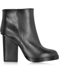 Jil Sander Black Leather Ankle Boot - Lyst