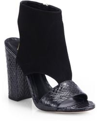 B Brian Atwood Biella Cutout Snakeskin Suede Sandals - Lyst