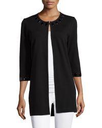 Grayse Embellished-Trim 3/4-Sleeve Long Jacket - Lyst