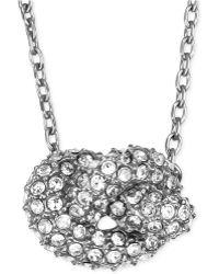 Michael Kors Silver-Tone Clear Pavé Knot Pendant Necklace - Lyst
