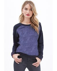 Forever 21 Blue Metallic-paneled Sweatshirt - Lyst