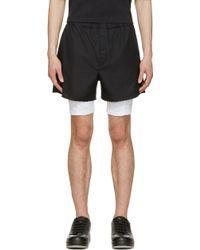 Calvin Klein Black And White Mesh Layered Shorts black - Lyst