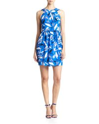 Shoshanna Brush Strokes Print Adrianna Dress - Lyst
