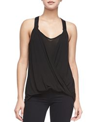 Ella Moss Icon Draped Top W Faux Leather Straps Black Xs - Lyst