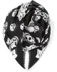 Alexander McQueen Skull and Leaf Print Scarf - Lyst