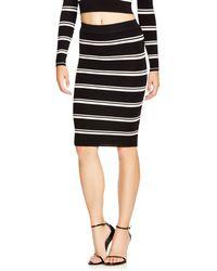 Olivaceous Stripe Rib Knit Skirt