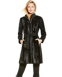 Vince Camuto Belted Faux Fur Front Coat - Lyst