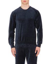 Emporio Armani Branded Velour Sweatshirt - Lyst
