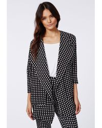 Missguided Izziee Check Waterfall Jacket Black - Lyst
