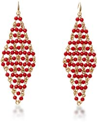 Diane von Furstenberg Honey Turquoise Faceted Bead Drape Drop Earring pink - Lyst