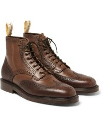 Grenson Foot The Coacher Pebble-Grain Leather Brogue Boots - Lyst