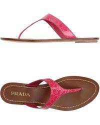 Prada Thong Sandal pink - Lyst