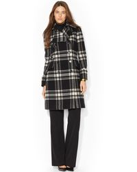 Lauren by Ralph Lauren Double-breasted Plaid Walker Coat - Lyst