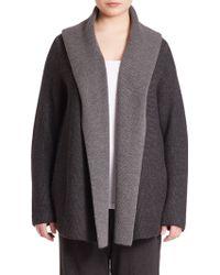Eileen Fisher | Merino Wool Plaited Cardigan | Lyst