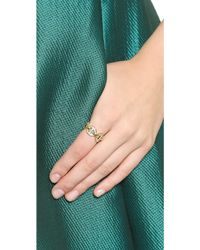 Michael Kors Maritime Link Ring with Pave Crystals - Goldclear - Lyst