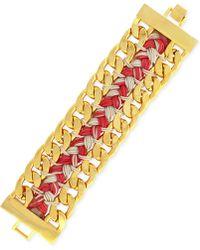 Vince Camuto - Gold-Tone Double Chain Woven Bracelet - Lyst