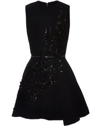 Elie Saab Embroidered Black Stretch Cady Mini Dress - Lyst