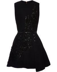 Elie Saab Embroidered Black Stretch Cady Mini Dress - Lyst