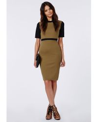Missguided Edna Contrast Sleeve Midi Dress Khaki - Lyst