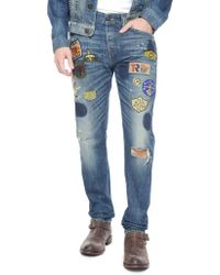 True Religion Dean Tapered Well Traveled Patchwork Mens Jean - Lyst