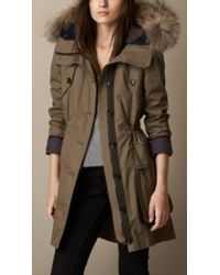 Burberry Showerproof Parker with Detachable Fur Trim and Warmer - Lyst