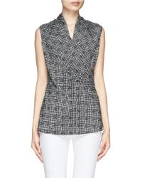St. John Graphic Plaid Print Wrap Top - Lyst