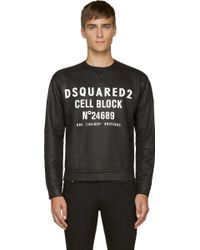 DSquared2 Black Coated Cell Block Sweatshirt - Lyst